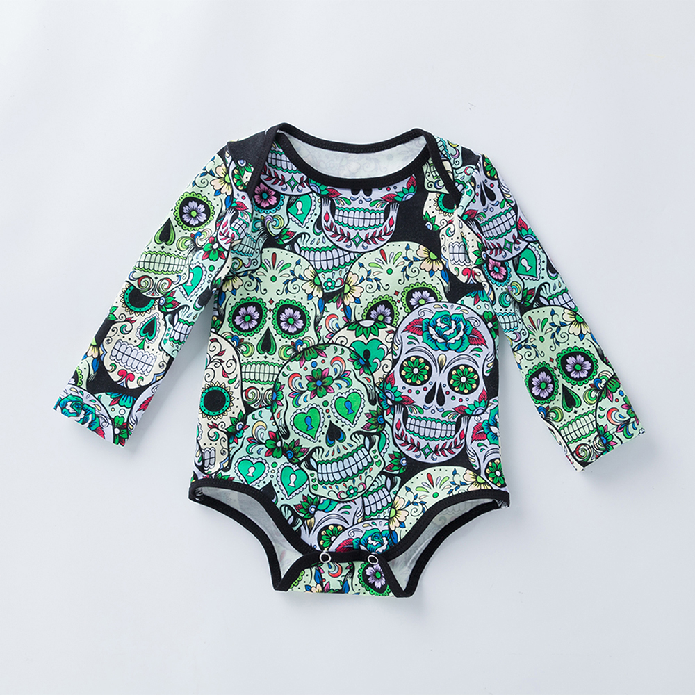 YK&Loving Skull Print Infant Girls Halloween Bodysuit Novelty Baby Clothes Halloween Carnival Party Cosplay Newborn Jumpsuits ...