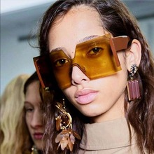 WOWSUN Oversize Rimless Square Sunglasses Women Men Luxury B