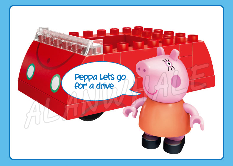 16pcs Peppa Family Mummy Pig Red Car Vehicle Peppa Pig Model Building Action Figures Assemble Toys Compatible With lego Duplo