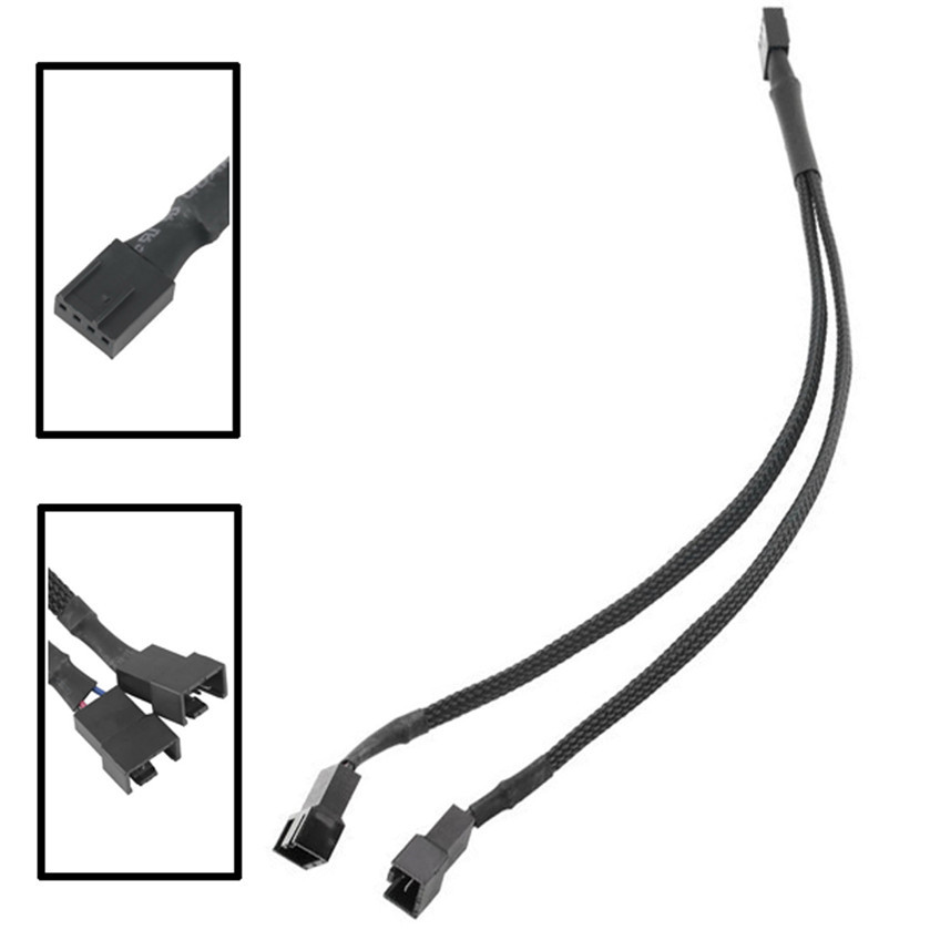 Best price 4-Pin Fan 4P Cable One Point Two PMW Fan Y Splitter Black Sleeved Extension Cable best price 5pin cable for outdoor printer