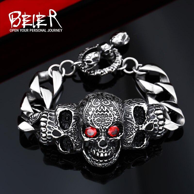 Stainless Cool <font><b>Men's</b></font> Steel High Quality <font><b>Red</b></font> Eye Stone Biker <font><b>Man</b></font> Skull Bracelet Chain Factory Price BC8-021