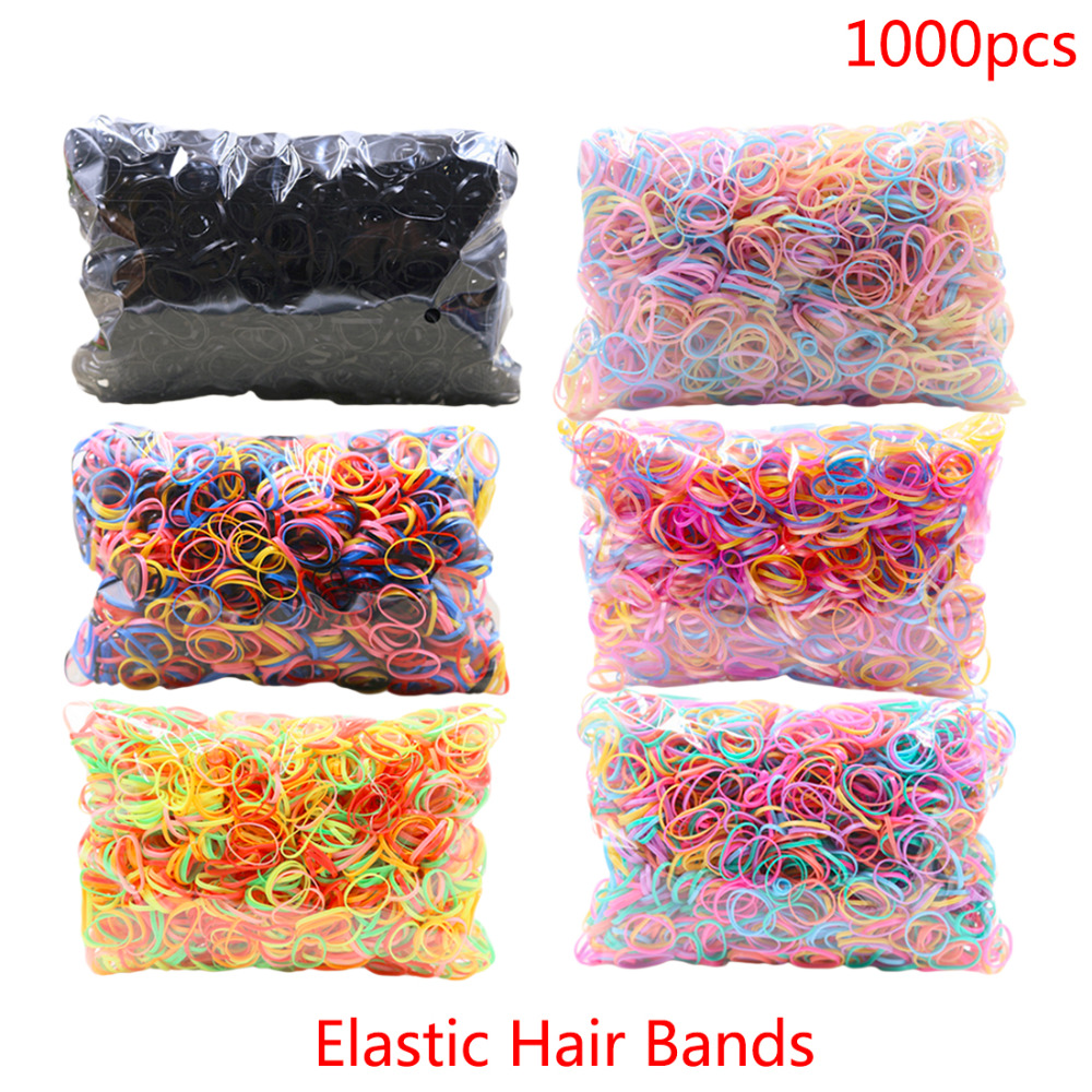 About 1000pcs/pack TPU Hair Holder Rubber Hairband Rope Silicone Ponytail Holder Elastic Tie Gum Hair Accessories For Girls