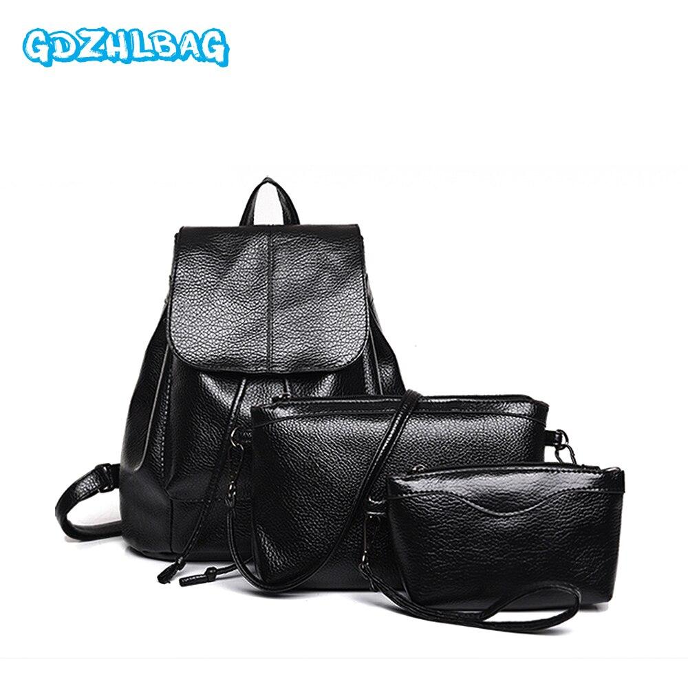 GDZHLBAG 3PCS/SET 2017 backpacks for adolescent girls fashion backpack women backpack Leather school bag women bag B131 jaspreet kashyap active transport to school in adolescent s