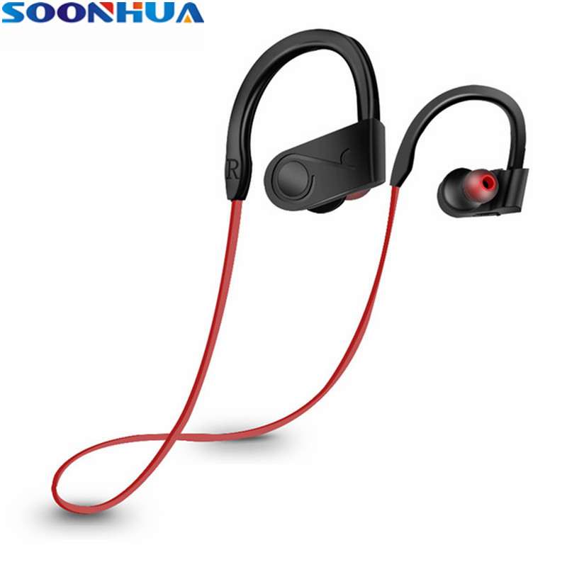 SOONHUA Waterproof Wireless Earphone Ear Hook Sports Bluetooth Headphone Stereo Bass Headset With Handsfree Microphone For Phone