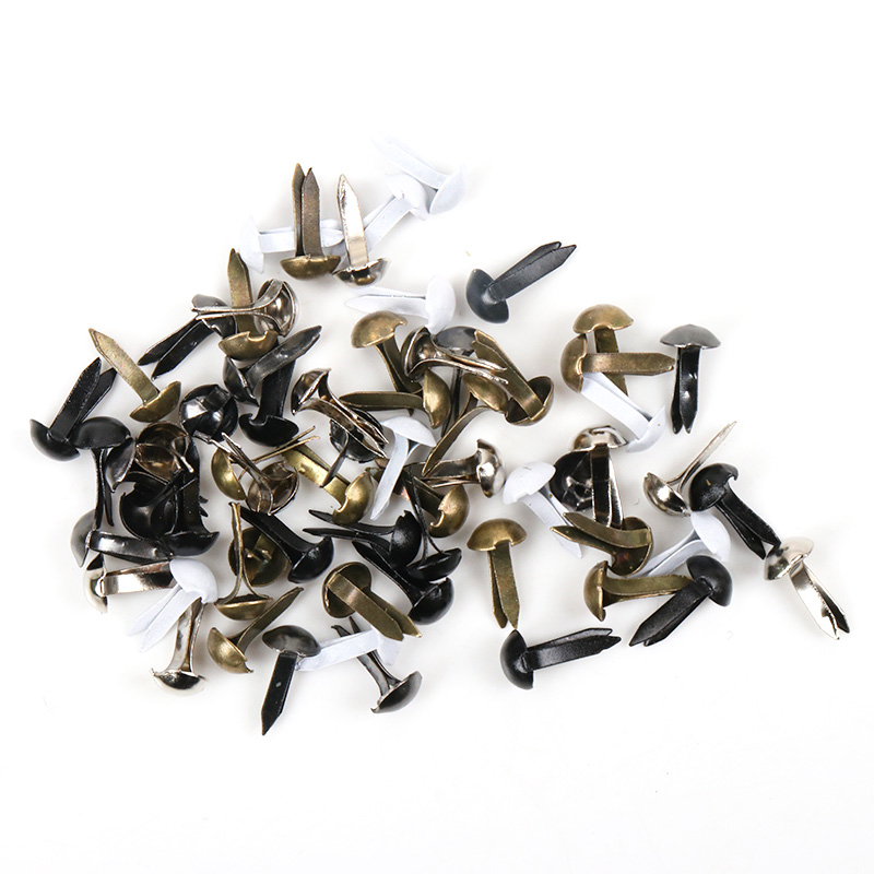 100pcs Mixed Round Metal Brad Studs Spikes Scrapbooking Embellishment Fastener Brads Crafts Pushpin Decoration 5x10mm