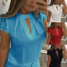 Hollow Out Sexy Tops Femme Solid Casual Office Shirts