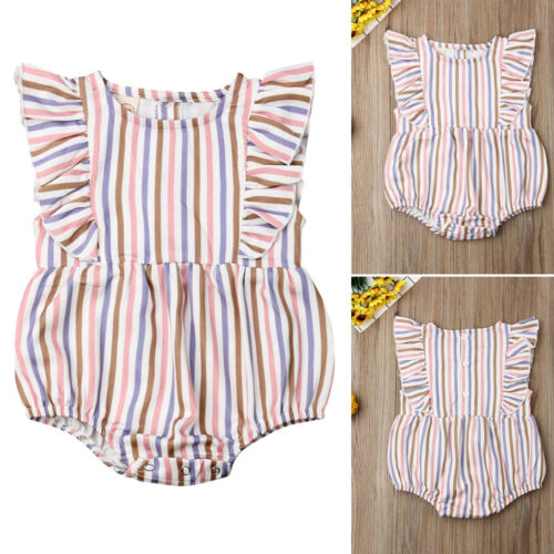 CA Newborn Kids Baby Girl Striped Jumpsuit Romper Crawling Suit Bodysuit Outfits