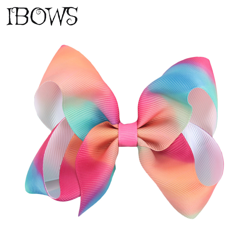 2Pcs/Lot 4'' Rainbow Hair Bows With Alligator Clip For Kids Girls Colorful Printed Grosgrain Ribbon Hairgrips Hair Accessories 2pcs lot printed crown hair bows layered grosgrain ribbon hairbow for kids girls hairgrips handmade hair accessories
