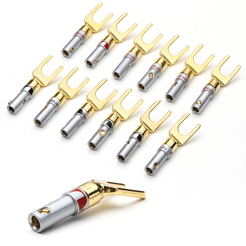 YT 12PCS Nakamichi Gold Plated Y/U- type Banana Plugs Set Cable Wire Connector Fork Spade Speaker Plug Adapter Audio Terminals hot 4pcs copper gold plated tuning fork banana y spade plug adapter av audio terminals connectors for speaker cable power