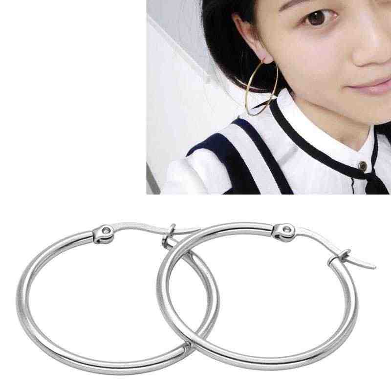 10-70MM Stainless Titanium Steel Sexy Exaggerated large Earrings Round Buckle Hoop Earrings Accessories for Women Jewelry Gift