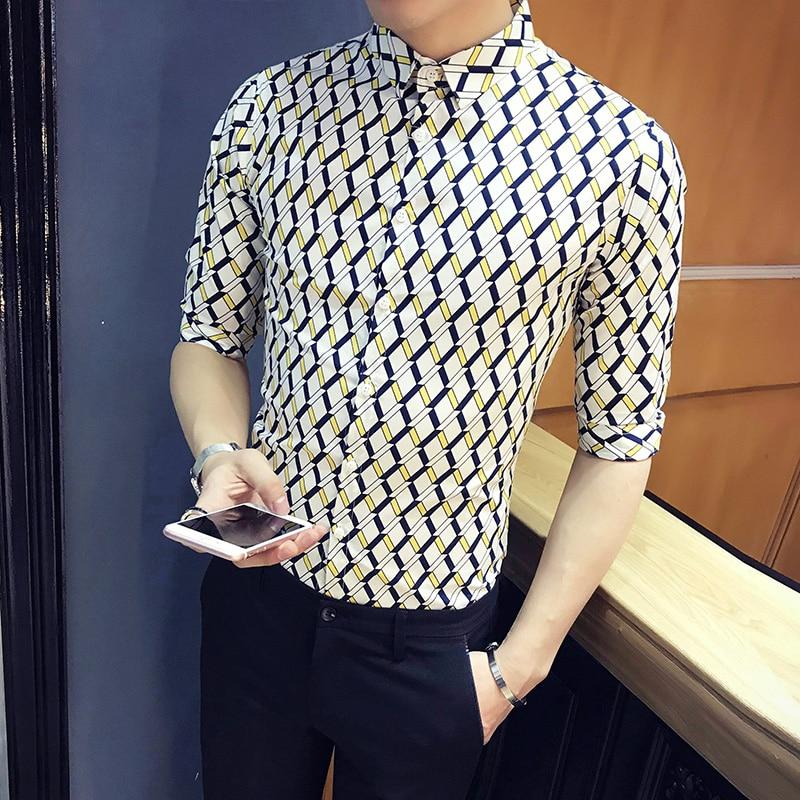 High Quality Men Shirt Summer Brand Designer Slim Fit Plaid Shirt Men Half Sleeve Casual Business Work Shirt Social Blouse Homme