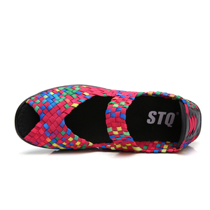 Image 4 - STQ 2020 letnie kobiety sandały na platformie buty damskie tkane płaskie buty klapki szpilki buty plastikowe damskie wsuwane buty buty 559