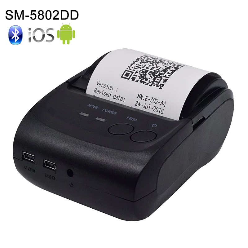 Draagbare 58 mm thermische Bluetooth-printer Bluetooth-ontvangstprinter bluetooth USB / seriële poort voor Windows Android POS-printer