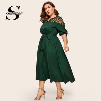 Sheinside Plus Size V Neck Contrast Mesh Dress Women Elegant Cuff Lace Up Belted Dresses 2019 Summer Half Sleeve Midi Dress 3