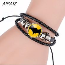 Spider-Man Iron Man Superman bracelet America Super Hero Superheroes Batman pins jewelry fashion women charms Leather bracelets(China)