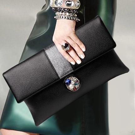 Gorgeous Colorful Diamond Tassel Genuine Leather Women Wallet Clutch Purse Evening bag Shoulder Handbag Crossbody Bag Wristlet - 4