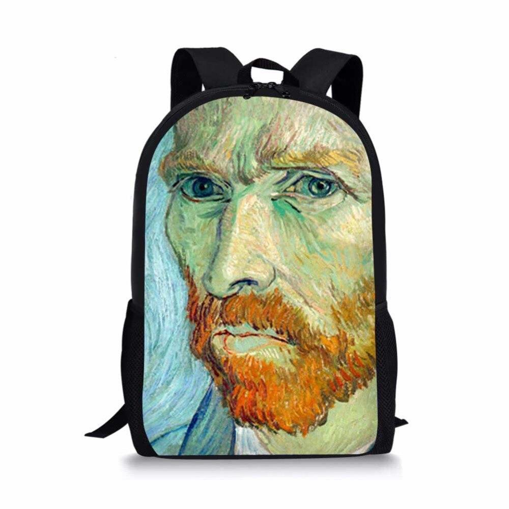 100% QualitäT Männer Van Gogh Berühmte ölgemälde Kinder Schule Taschen Für Teen Junge Mädchen Studenten Bleistift Tasche Rucksack Mochila Escolar Benutzerdefinierte Tasche