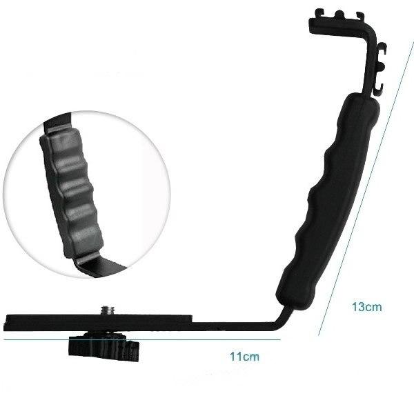 L Flash Bracket Mont 2 Hot Shoe Pour Caméscope Mic Microphone Vidéo Lumière Caméra