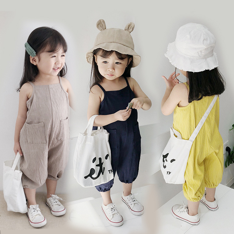 New Kids Girls Halter Strap Jumpsuit Romper Harem Overalls Sleeveless Chidren Girls 2018 Summer cotton overalls