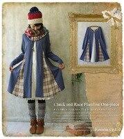 Spring Autumn Plaid Patchwork Lace Tunique Femme Bohemian Mori Girl Lolita Gothic Vestido Curto China Dress
