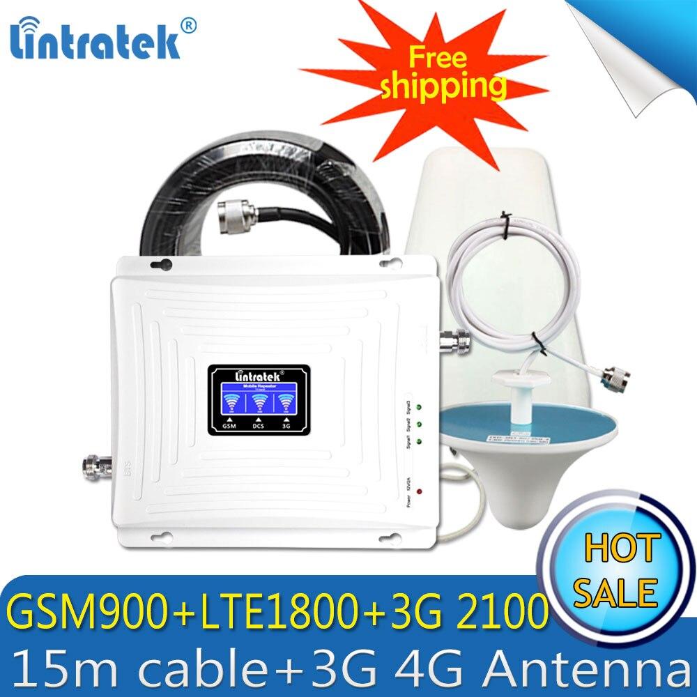 Lintratek GSM 4G repetidor 2G 3G 4G amplificador de señal de teléfono móvil DCS 900 LTE 1800 WCDMA 2100 Tri banda teléfono celular repetidor de celular