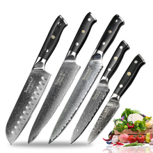 SUNNECKO 5PCS Kitchen Knife Set Slicer Chef Paring Japanese Damascus VG10 Steel chef knife sets Santoku Utility Cooking Tools