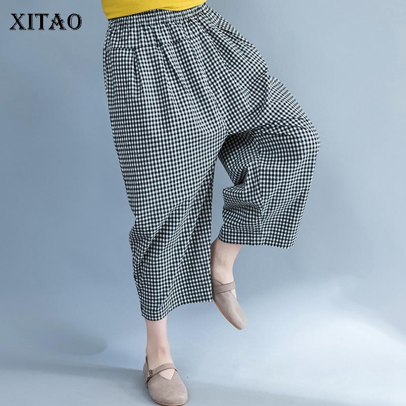 [XITAO] 2019 Spring New Women Korea Fashion Women Loose   Wide     Leg     Pants   Female Plaid Flat Casual Ankle-length   Pants   DLL2988