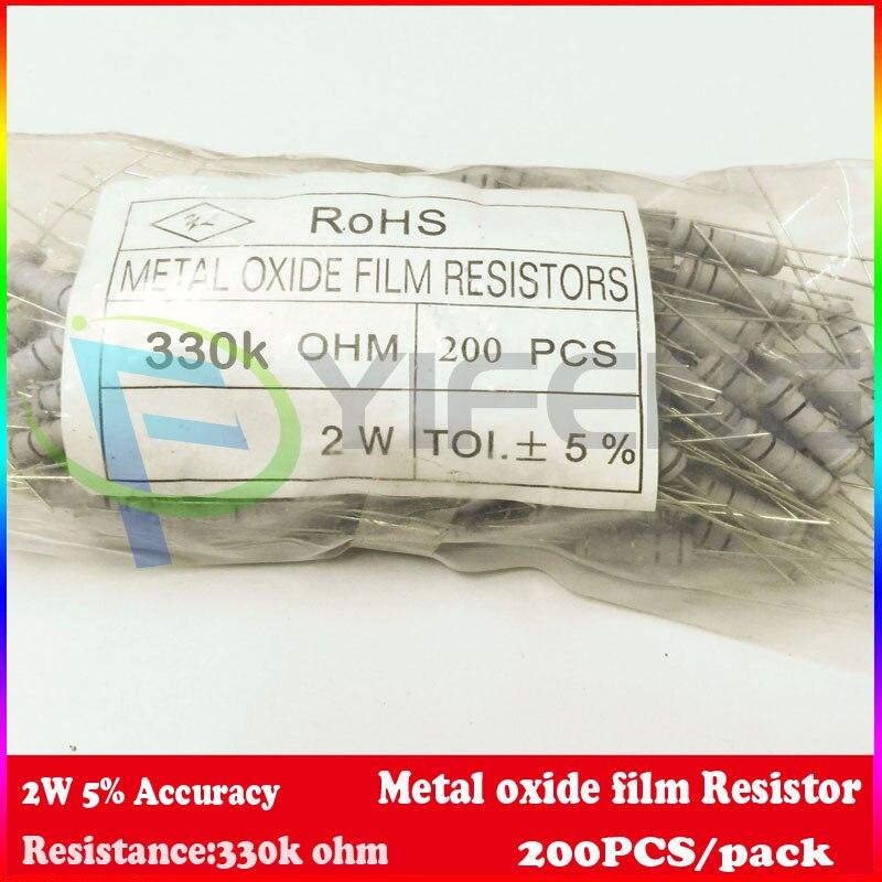New 200pcs lot 330k Ohm 2W Watt 5 Carbon Film Resistor