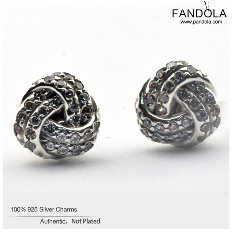 Fandola 1pcs Earrings 925 Sterling Silver Sparkling Love Knot Stud For Women Boucles D Oreilles Pour Les Femmes Jewelry In From