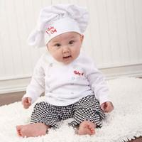 Cute Baby Infants Cook Chef Costume Infant Boys Girls Photo Prop Cosplay Party Outfits Tops Coat+Long Pants+Hat Clothes Set D40