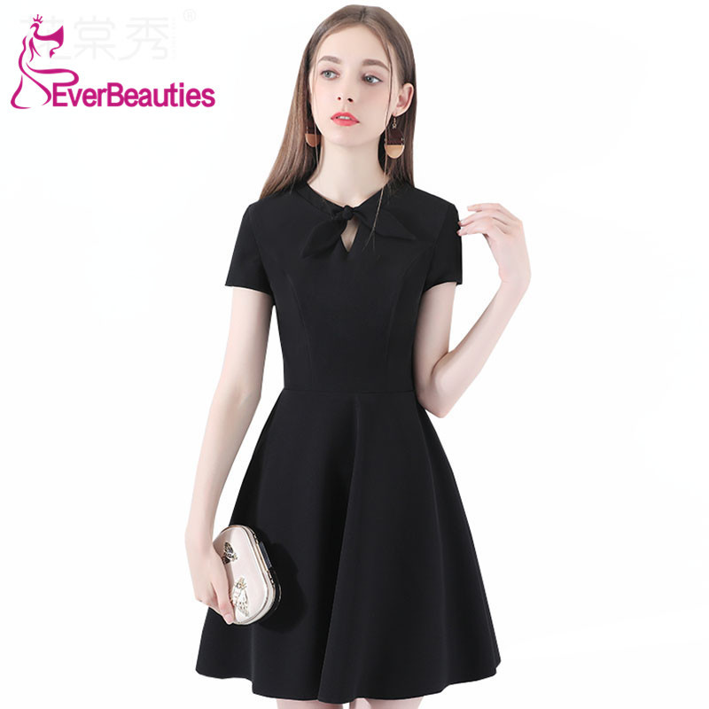 Robe De   Cocktail   Short   Cocktail     Dresses   2019 Short Sleeves Homecoming   Dresses   Women's Prom Party   Dresses