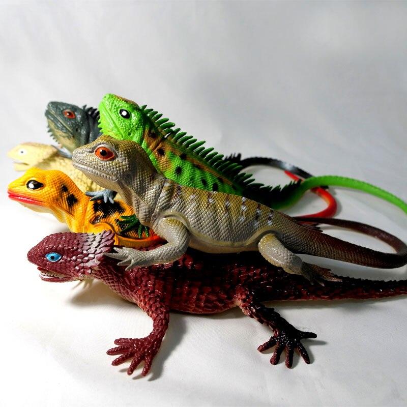 Grand tweet souple en caoutchouc lézard modèle animal poupée simulation jouet 6 pcs/ensemble