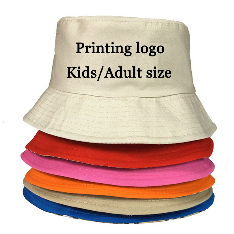 Kids/Adult Buckets Fishing Men Hats Adult/Children Bucket Hat Girl Free Adjust Belt Men Sun Caps Casual Custom Print Name/LOGO