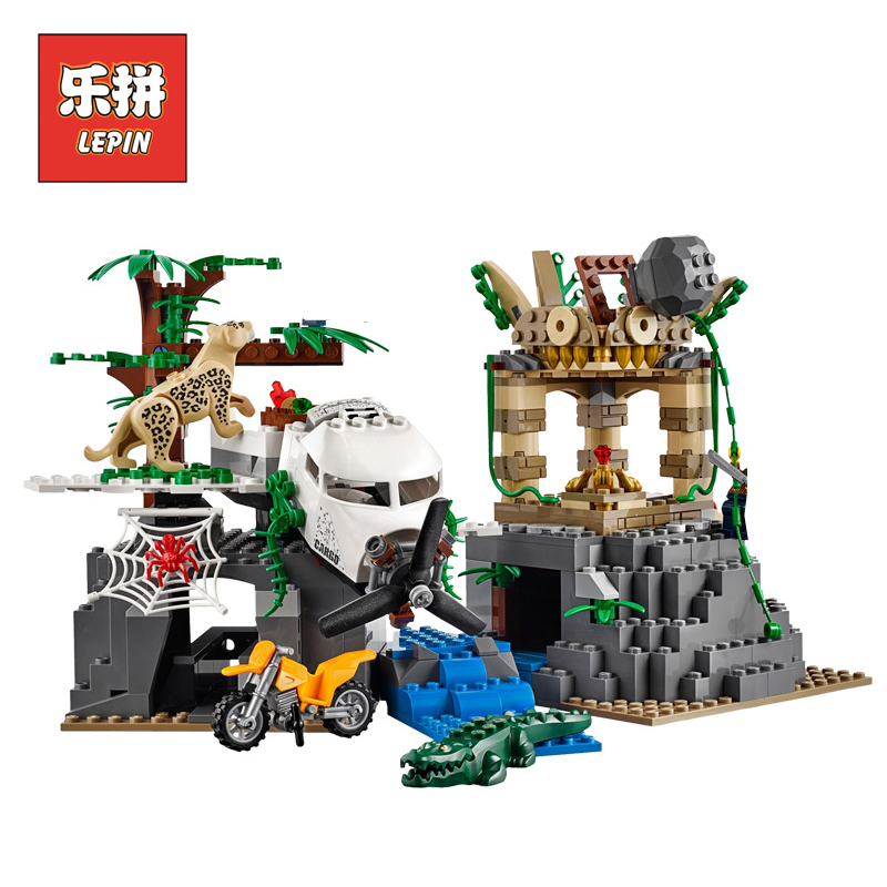 Lepin 02061 City New Series Exploration of Jungle Building Blocks Bricks DIY Model Set Educational Children Toy 60161 Gift sermoido 02012 774pcs city series deep sea exploration vessel children educational building blocks bricks toys model gift 60095