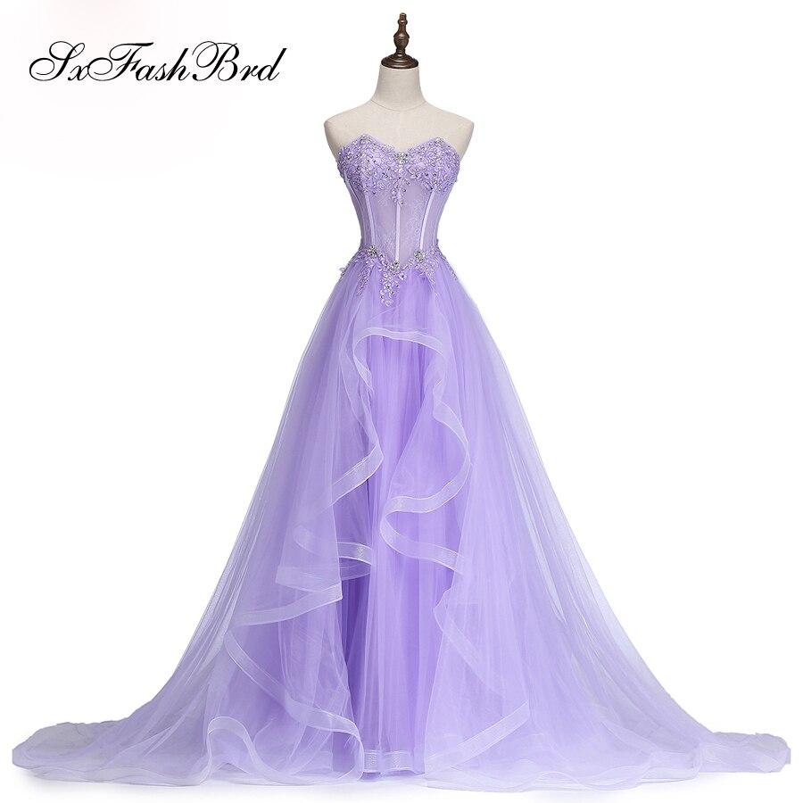 Vestido De Festa Sweetheart With Applique Lace Up Back A Line Long Tulle Formal Party   Evening     Dresses   for Women