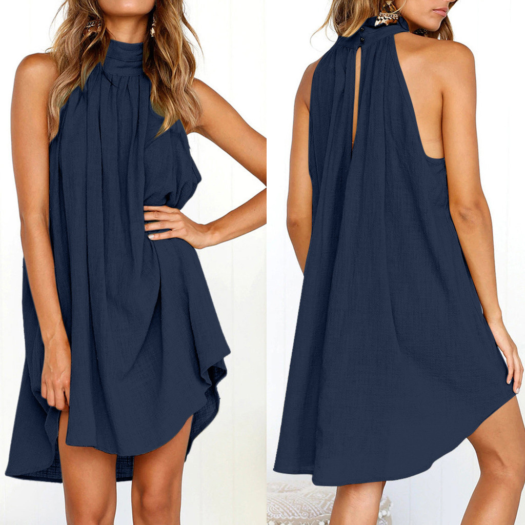 Women Clothes 2020 Dress Women Holiday Irregular Ladies Summer Beach Sleeveless Dress Casual Party Dresses Pure Color Vestidos