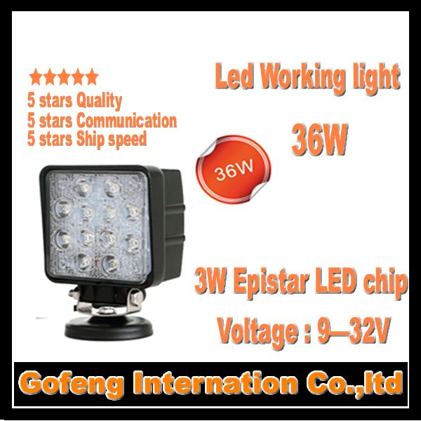 1PCS/LOT 2014 new products DC10-30V 36w led working offroad flood car lights 12pcsx3W 12V epistar chip lamp free shipping