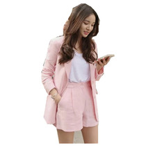 Womens suit spring and summer new pink commuter slim cotton linen shorts two-piece long-sleeved short small
