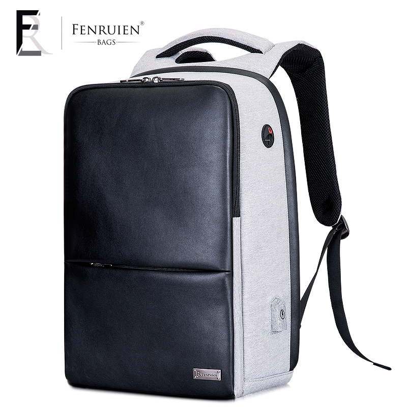 FRN 2018 Business Commute Backpack Male PU Leather Waterproof Laptop Backpack Fashion Travel USb Charging Double Zipper Daypack