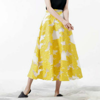 New Arrival Women's Skirts Maxi Long Embroidery Mesh Patchwork 50S 2018 Designer High Quality Female A line Skirt Blue Yellow