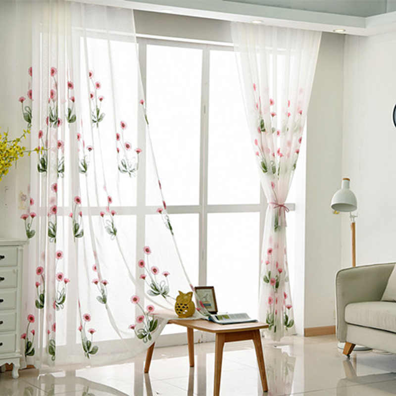 Pink Flower Tulle Curtains For Bedroom Sheer Curtains Flower Embroidered Blue Curtains For Living Room Rustic Voile AG052&2