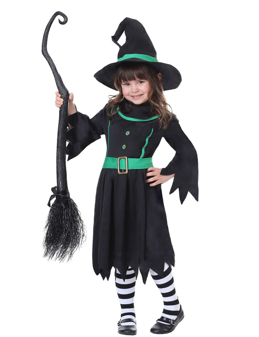 MOONIGHT 2018 Girl's Witch Costume Kids Eleglant Witch Dress With Hat Clothes for Halloween Cosplay Party Costumes