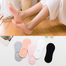 1 Pairs New Womens Socks Solid Color Invisible Ladys Short Summer Thin Non-slip Girl Boat Pink White Black