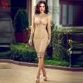 2016 Vintage Sexy Shining Cocktail Dress Scoop Neckline Sheer Long Sleeve Knee Length Sequined Lace Formal Party Dress