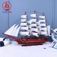 LUCKK 80 CM Red DIY Wooden Model Ships Sailboat With Anchor Nordica Home Decoration Crafts Offer With Free Shipping 97116A
