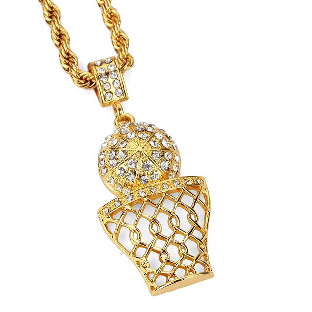 Luxury golden rhinestone basketball pendants necklaces men women hip luxury golden rhinestone basketball pendants necklaces men women hip hop iced out bling chains gifts crystal aloadofball Image collections