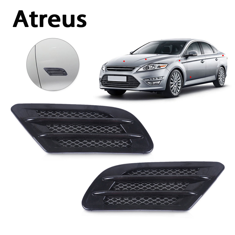Atreus 2PCS Car Fender Carbon Fiber Air Vent Grille Sticker For Mercedes benz W204 W203 W211 AMG Mini cooper Skoda octavia a5 A7 grille
