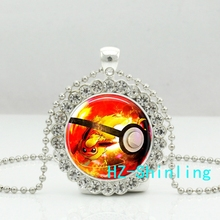 New Trendy Flareon Crystal Necklace Pokeball Pendant Glass Pokemon Anime Picture Jewelry Pendants Necklaces Gifts Men Women