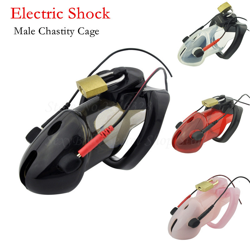 ... dispositivos de castidad jaula para pene electrochoque estimulación castidad  cinturón pene bloqueo juegos adultos juguetes sexuales para hombres en ... bd94039f06c