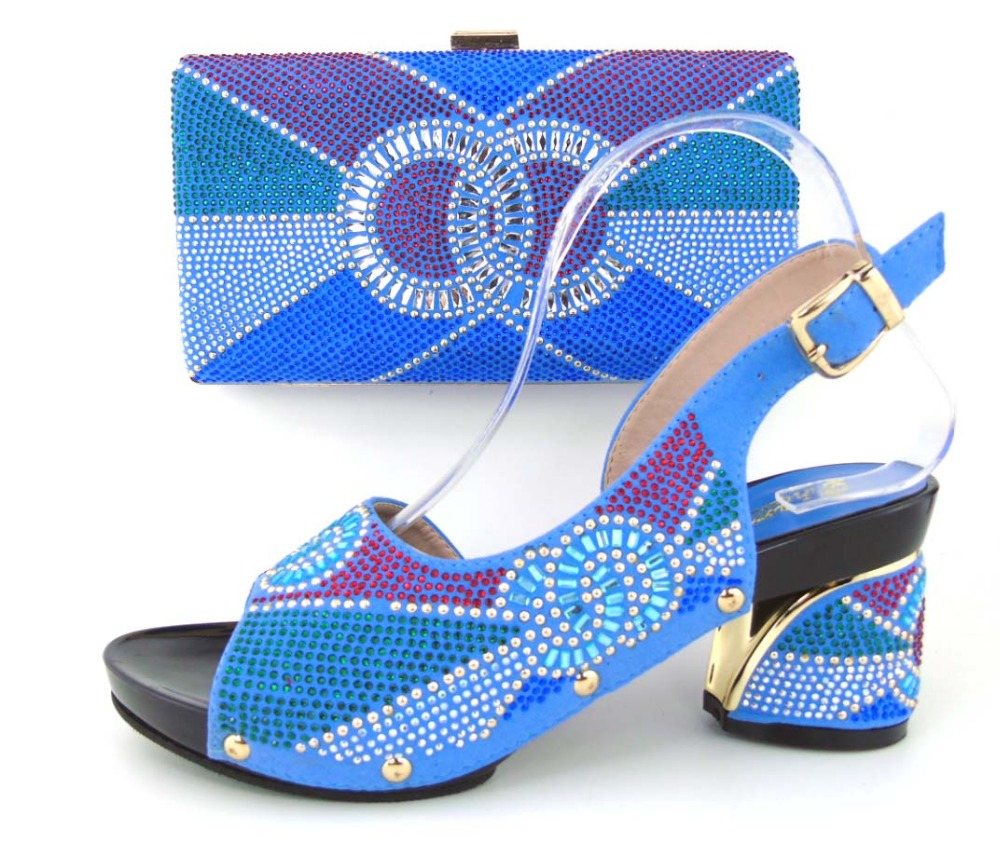 .High quality shoes and bag for Italian design,Ladies shoes and bags to match set with Royal Blue.!MLQ1-21